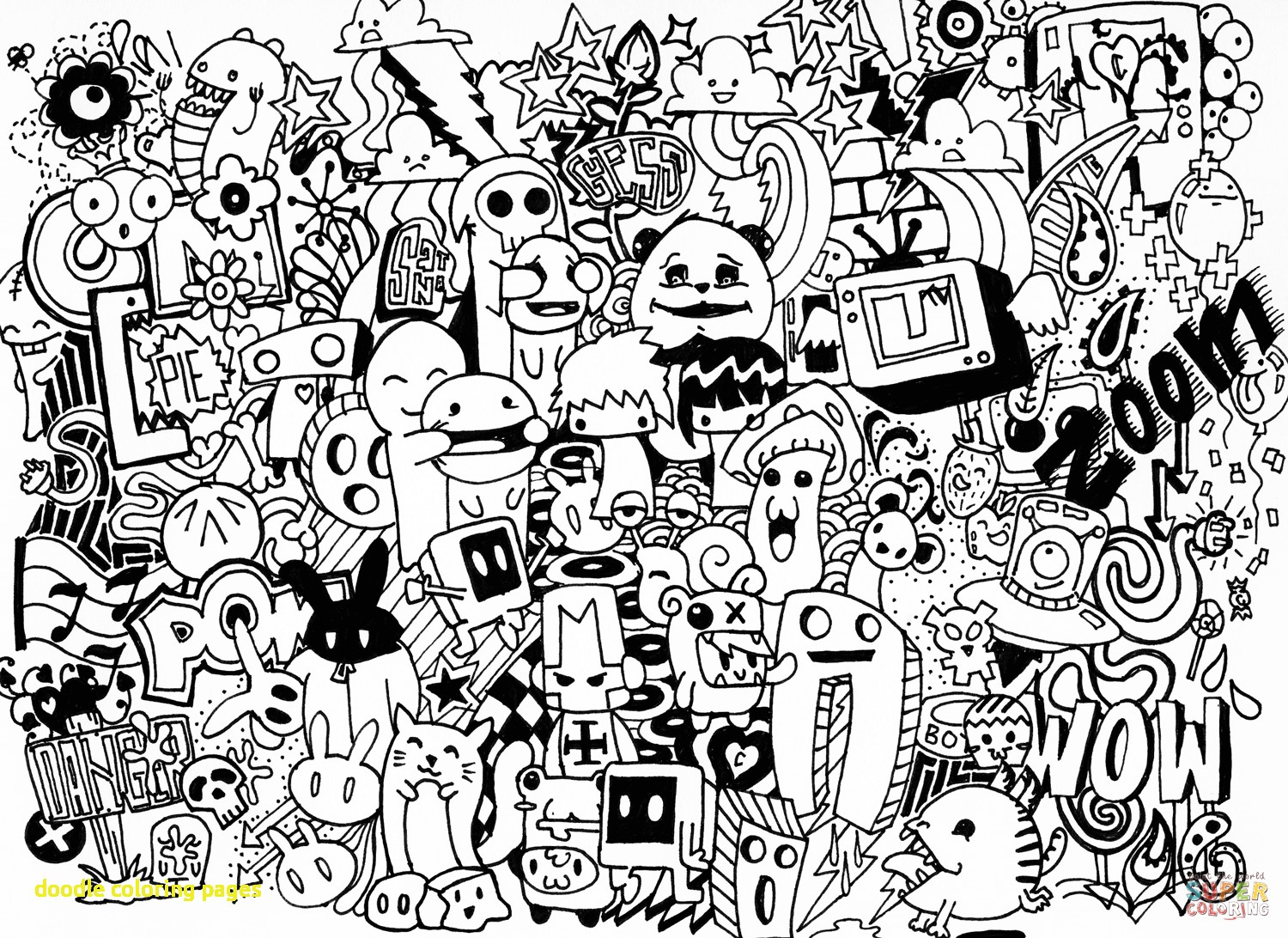 1500x1092 Doodle Coloring Pages With Doodle Art Coloring Pages