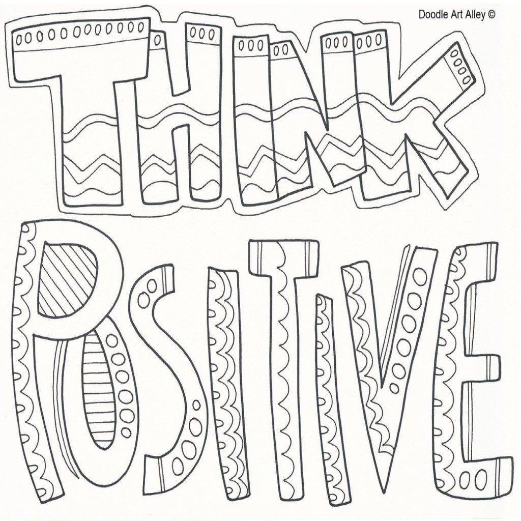 1024x1024 Positive Coloring Pages With Quote Doodle Art Alley