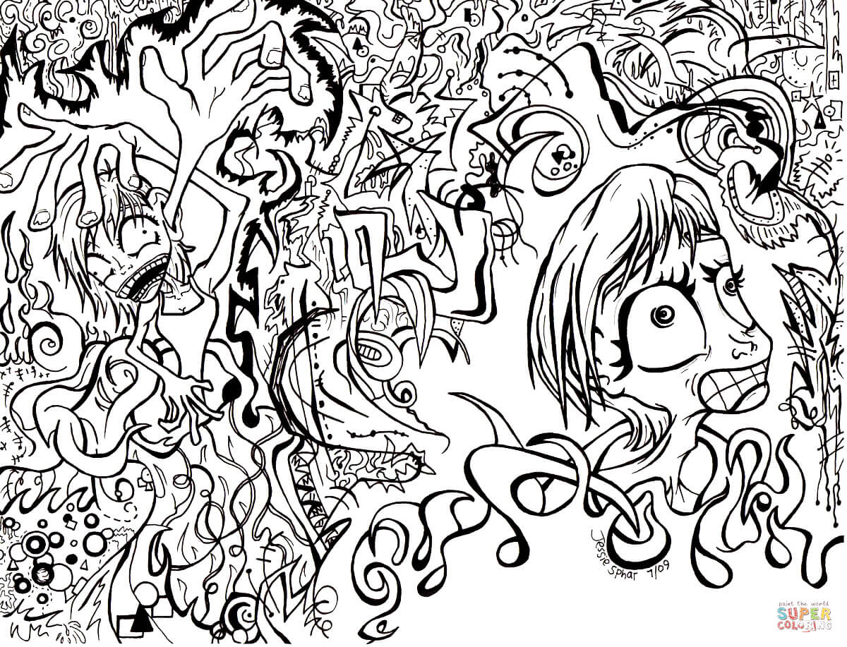 1200x917 Doodle Art Rachel Doodling Coloring Pages Artistic Printable Adult