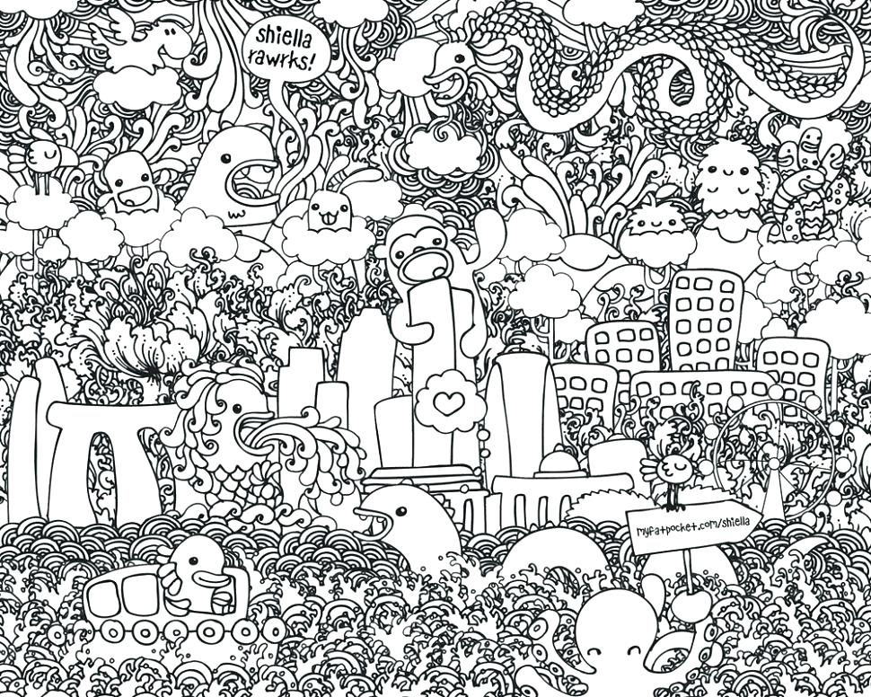 Doodle Art Coloring Pages For Adults At Getdrawings Com Free For