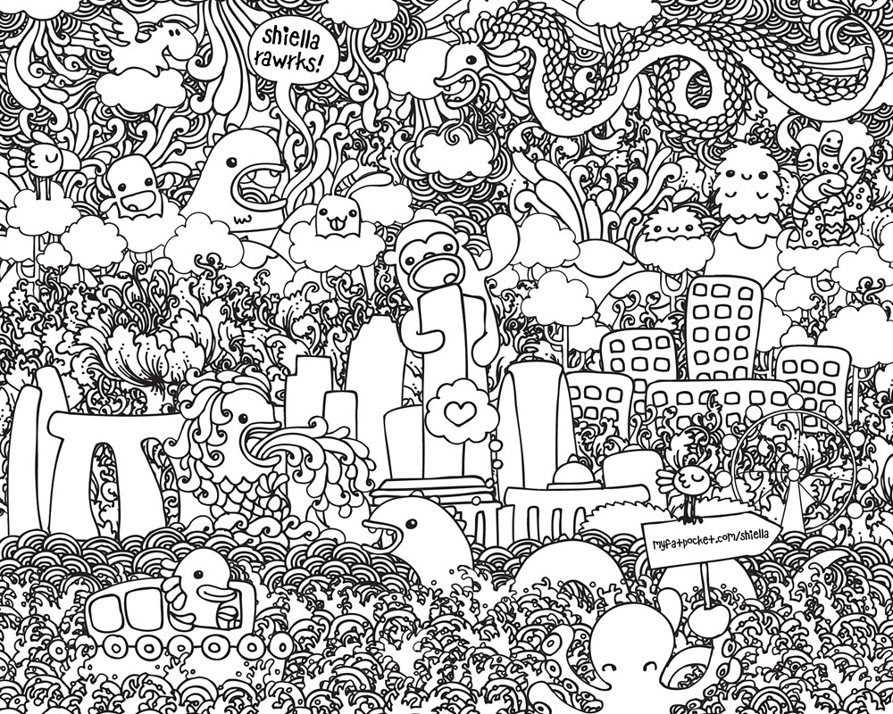 Doodle Art Coloring Pages For Kids