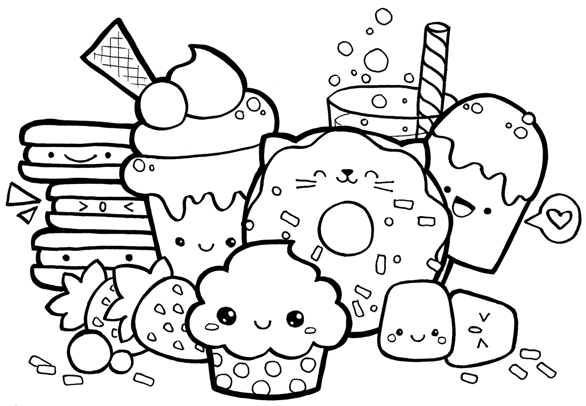 1200x832 Kawaii Food Doodle Coloring Page