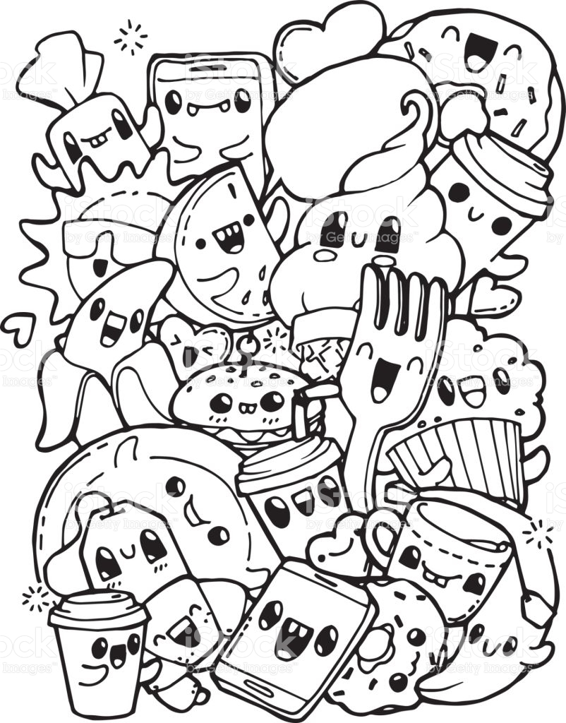 802x1024 Weird Coloring Pages Food Items Kawaii Doodle