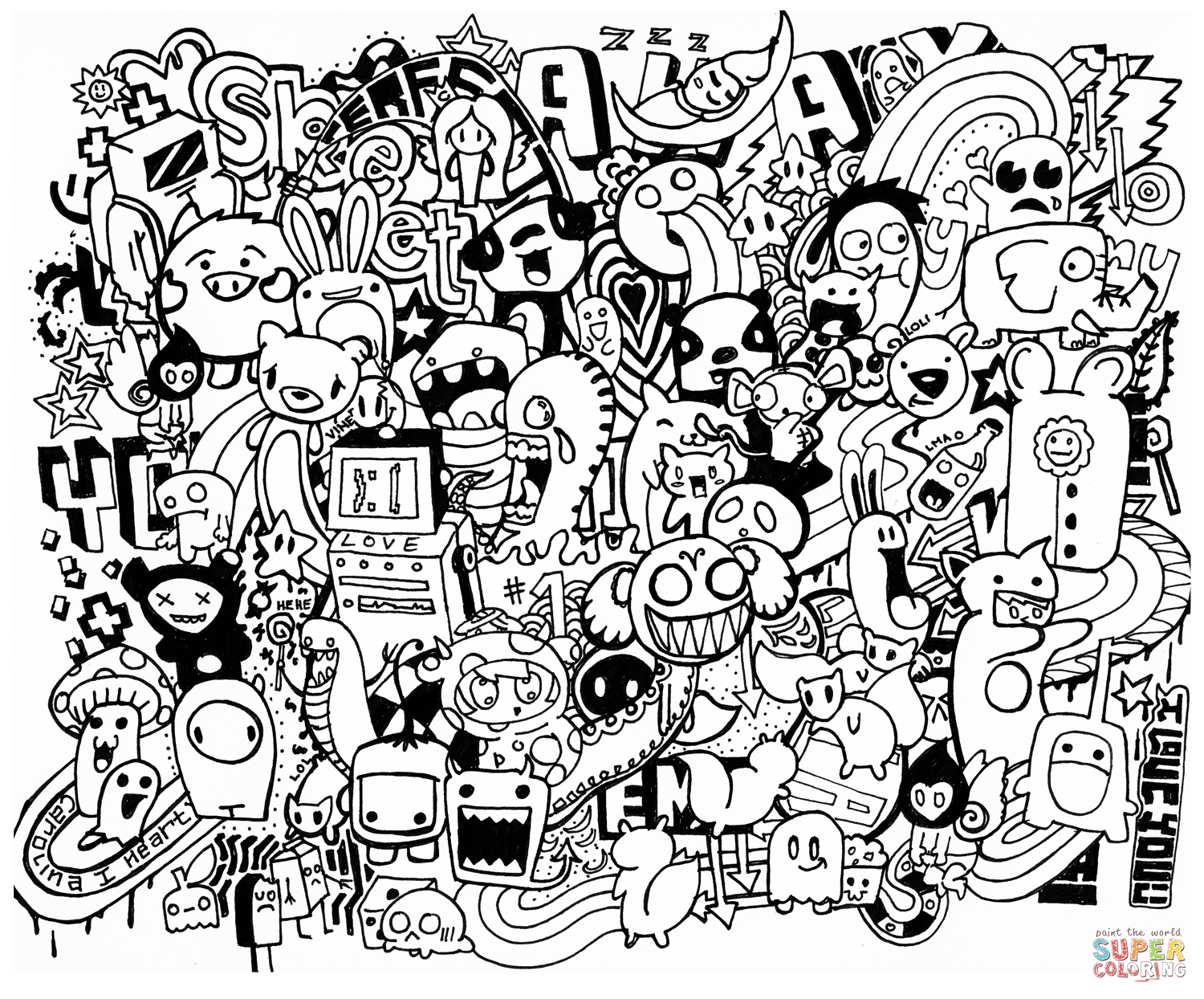 1500x1244 Doodle Coloring Pages Mash Up Page Free Printable Ribsvigyapan