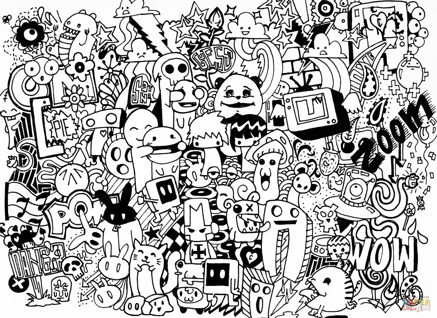 1500x1092 Doodle Coloring Pages Printable New Art Inside