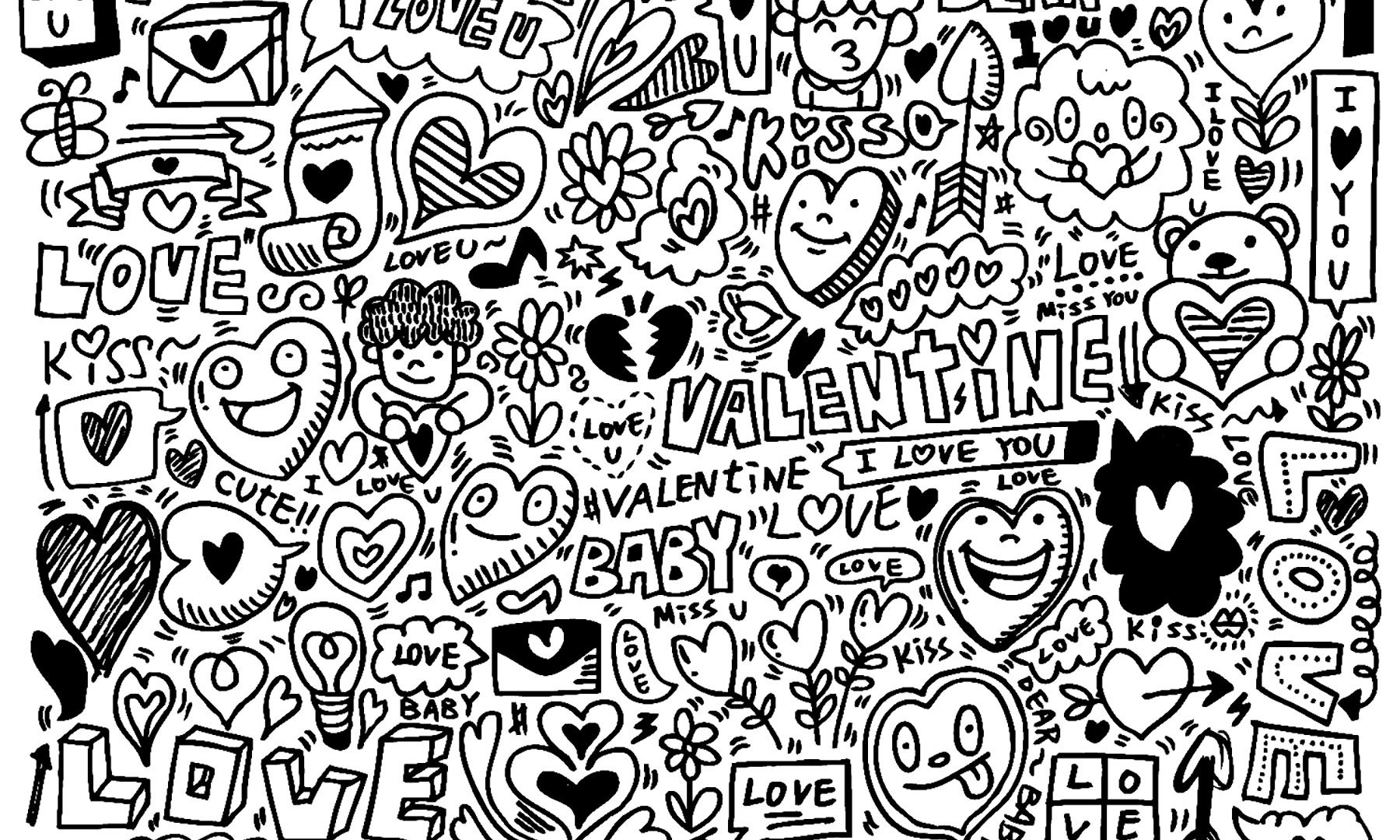 1800x1080 Doodle Coloring Pages To Download And Print For Adults Artistic
