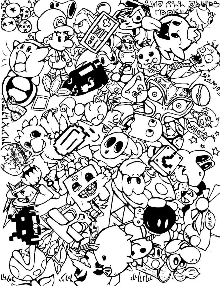 885x1153 Doodle Coloring Pages Colouring Adult Detailed Advanced Printable