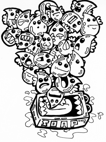 359x480 Doodle Coloring Pages To Print Soap Bubbles Doodle Coloring Page
