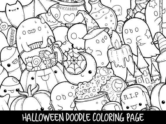 570x427 Halloween Doodle Coloring Page Printable Cutekawaii