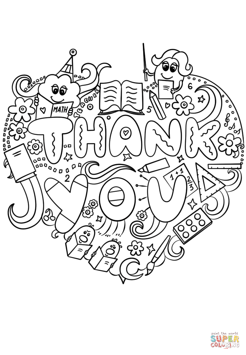 824x1186 Thank You Teacher Doodle Coloring Page Free Printable Pages New
