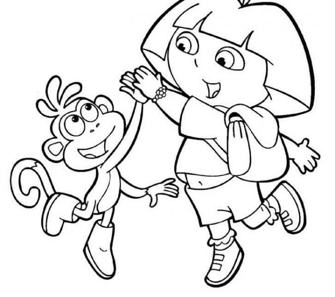 678x600 Dora And Boots Colouring Pages Dora And Boots Coloring Pages