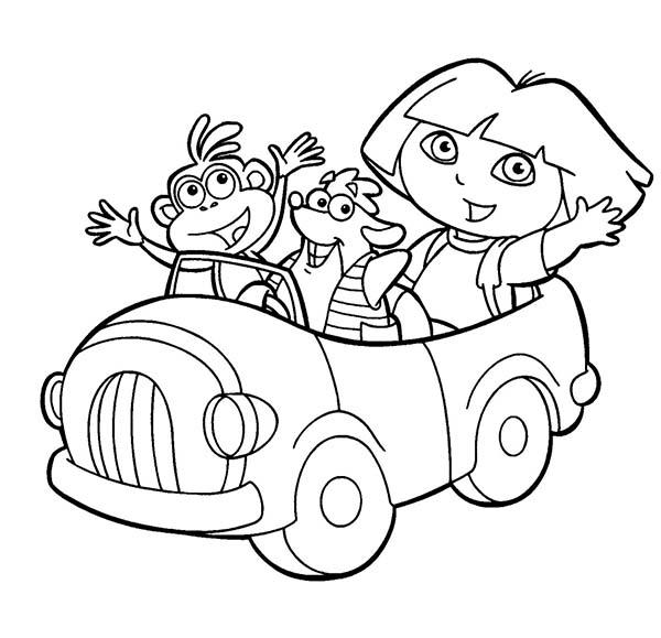 600x579 Dora Boots And Swiper Ride A Car In Dora The Explorer Coloring