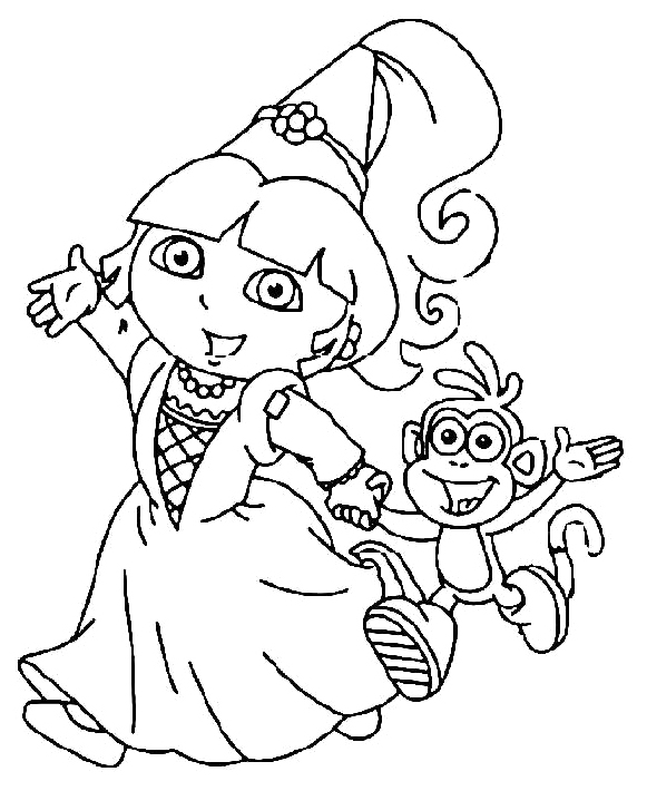 581x710 Dora Went To Party With Boots Coloring Pages Dora Coloring Pages