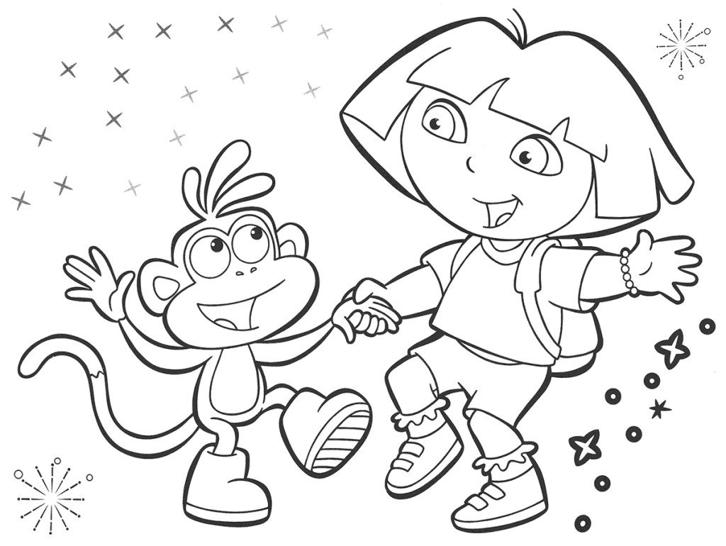 1024x770 Dora Printable Coloring Pages Bebo Pandco Throughout Printables