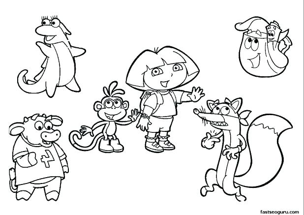 618x437 Dora Printable Coloring Pages The Explorer Adult Com And Boots