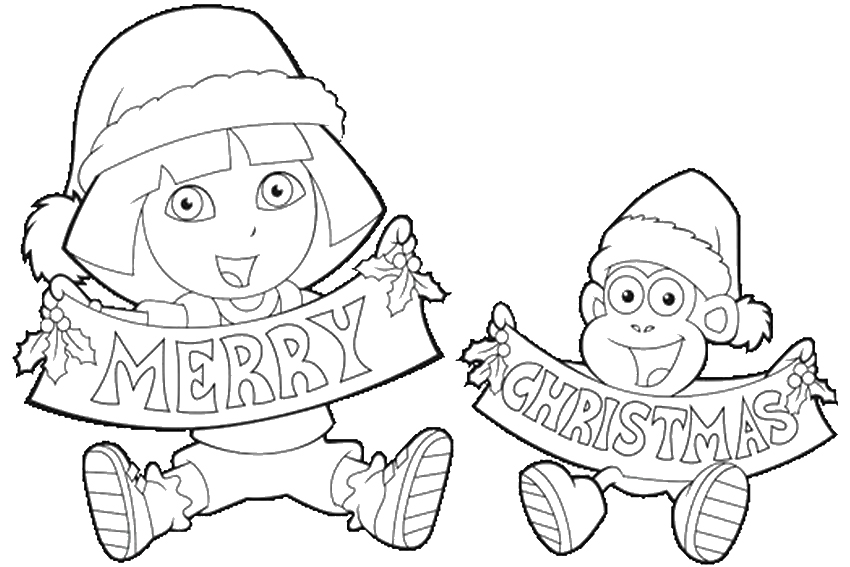 850x567 Dora The Explorer Christmas Coloring Pages