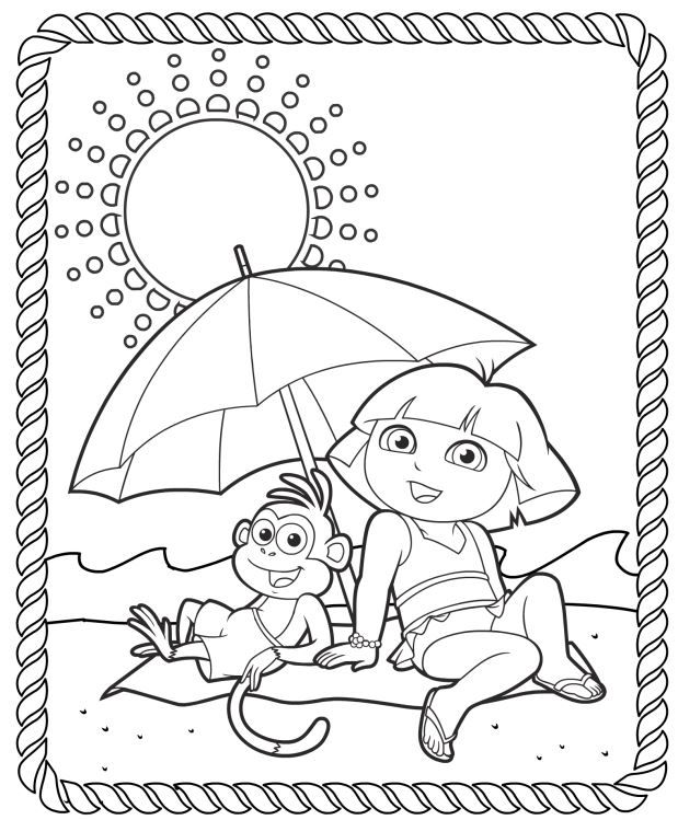 619x749 Dora The Explorer Printable Coloring Pages Splash Into Summer