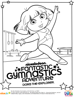 300x399 Free Dora Gymnastics Printable Coloring Pages