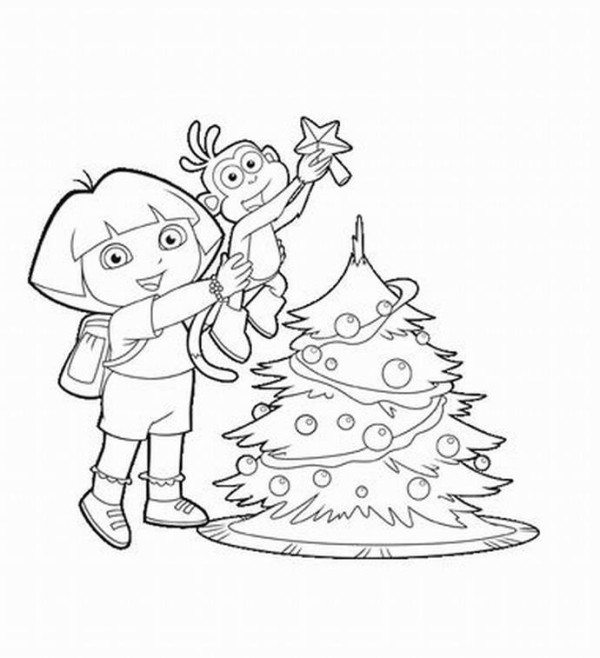 600x658 Dora Boots Christmas Tree Coloring Page