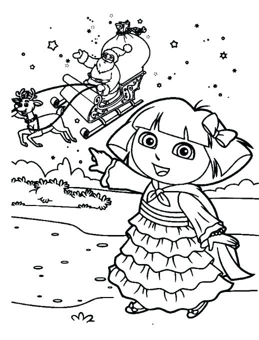 518x680 Dora Christmas Coloring Pages Coloring Pages Printable Dora