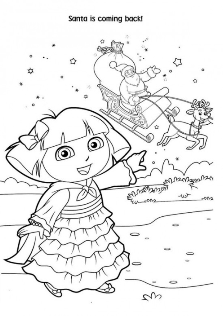 722x1024 Dora Christmas Coloring Pages