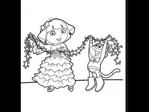 480x360 Dora The Explorer Christmas Coloring Pages
