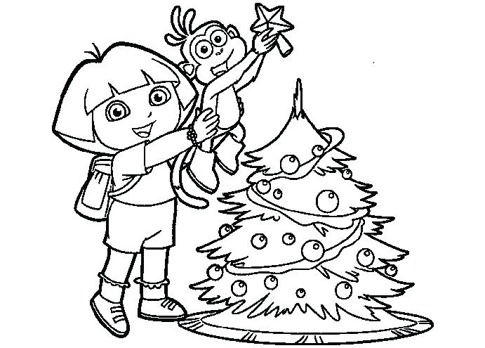 691x495 Dora The Explorer Christmas Printable Coloring Pages