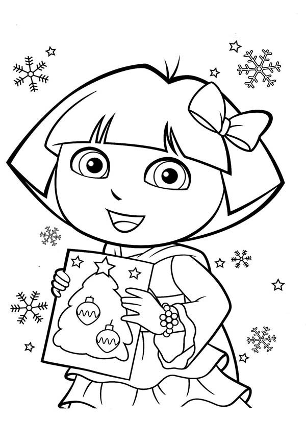 600x825 Dora And Book Of Christmas Tree In Dora The Explorer Coloring Page
