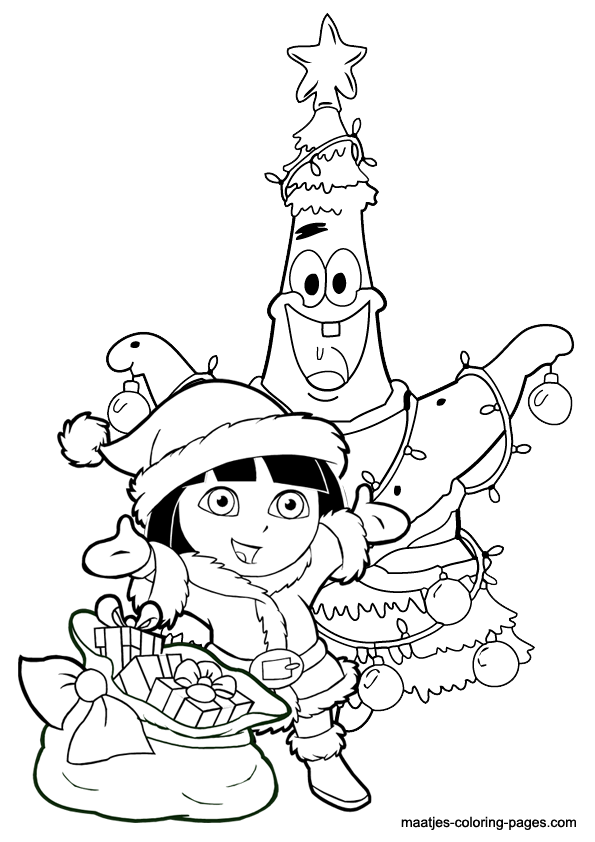 595x842 Dora The Explorer Christmas Coloring Pages