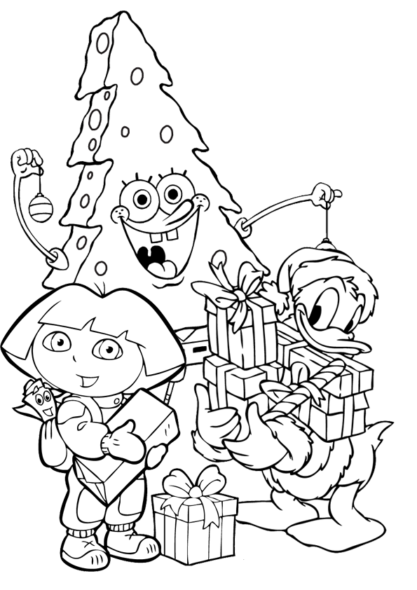 595x842 Dora The Explorer Christmas Coloring Pages Spongebob Squarepants