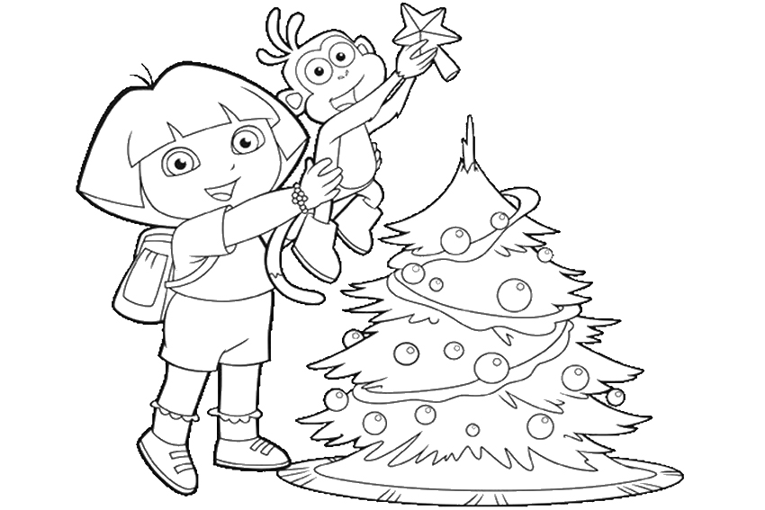 850x567 Christmas Coloring Pages Dora