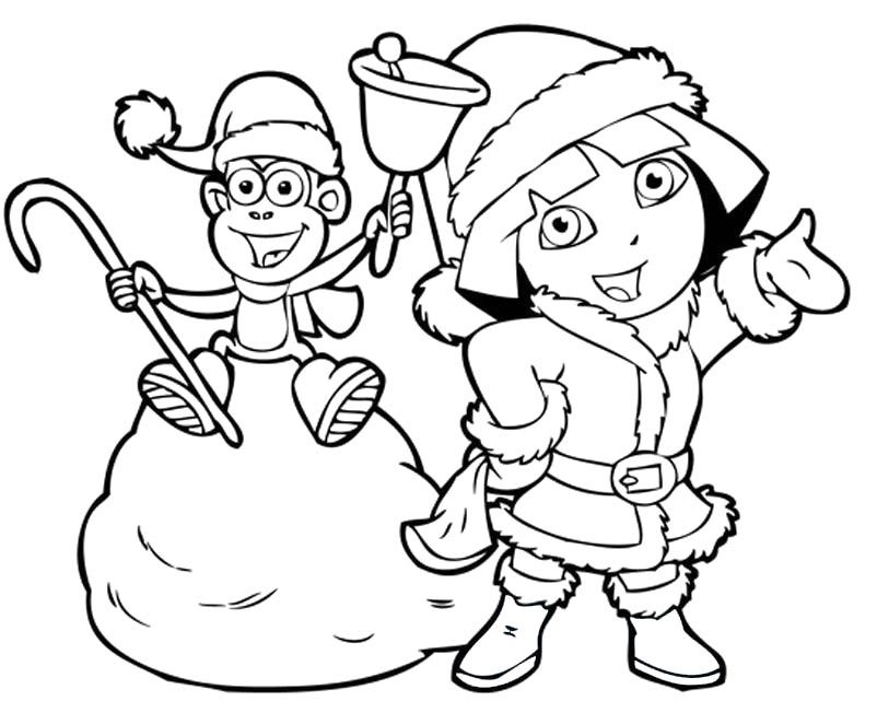 802x641 Christmas Coloring Pages Dora Dora Coloring Pages Christmas