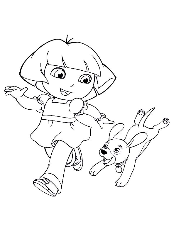 600x781 Dora Walking Her Dog In Dora The Explorer Coloring Page