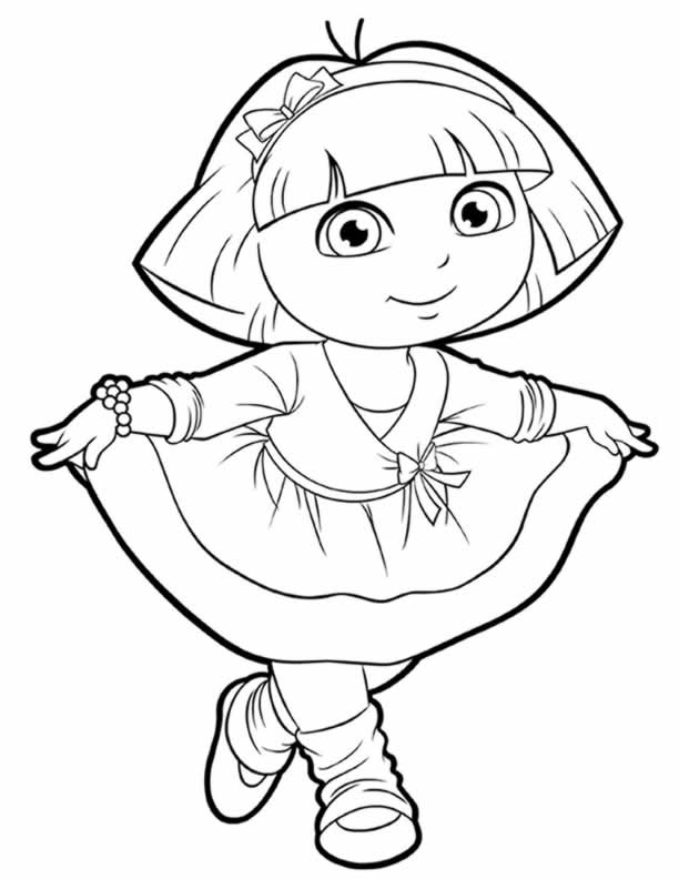 612x792 Pictures Of Dora To Color Charming Dora Coloring Pages