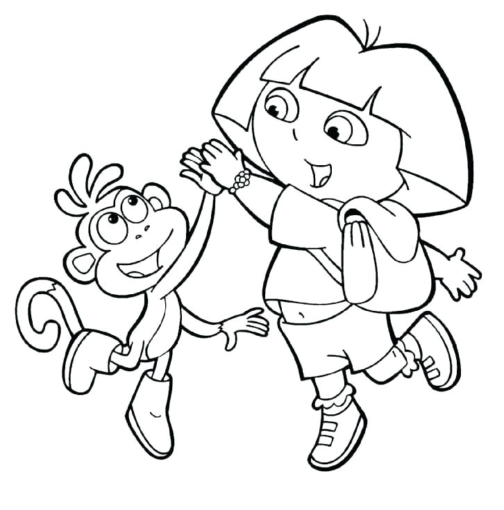 726x735 Dora Color Pages The Explorer Coloring Pages Beach For Kids Lots