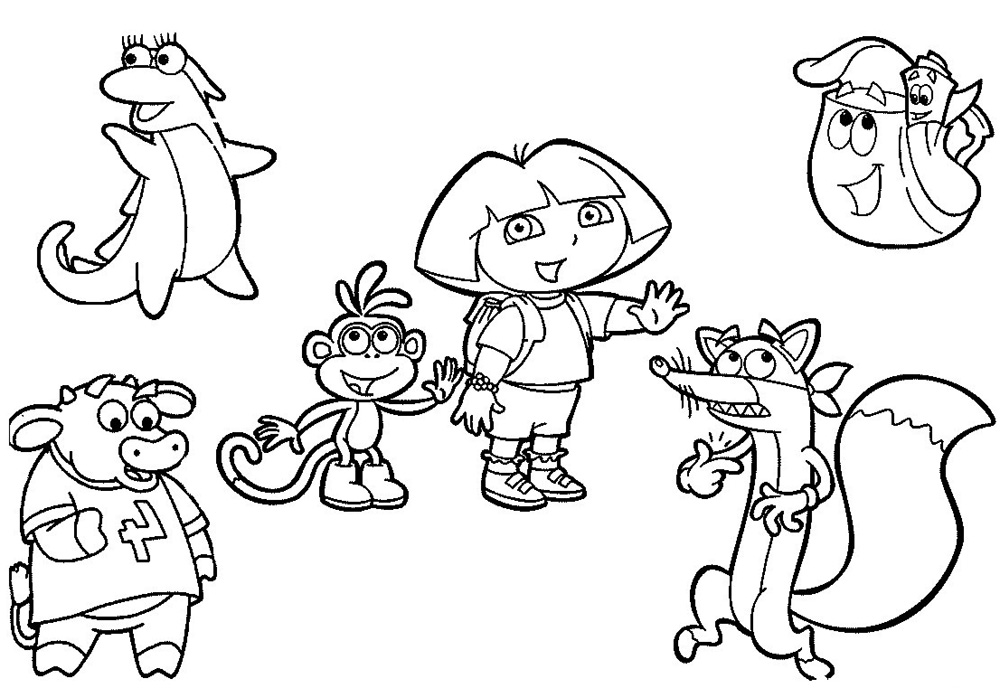 1000x688 Dora And Friends Coloring Pages Wonderful Dora The Explorer