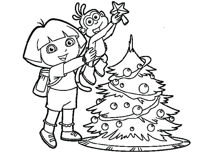 691x495 Dora Explorer Printable Coloring Pages Boots Tree Page