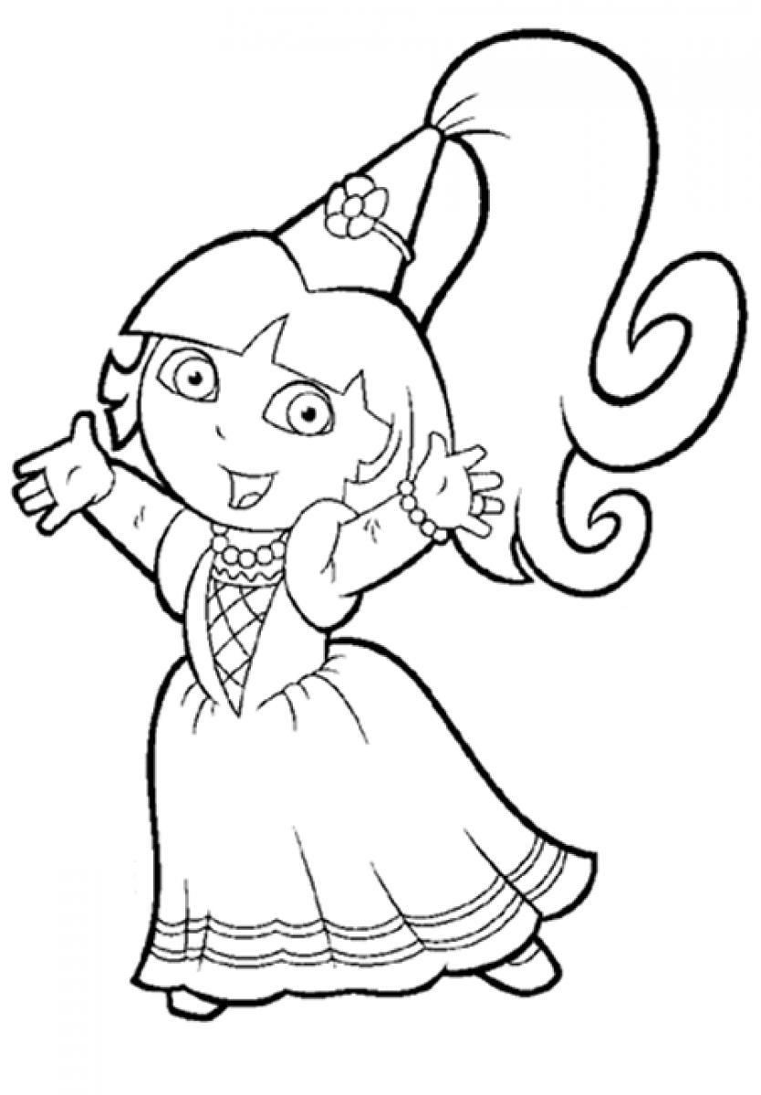 834x1200 Princess Dora The Explorer Coloring Pages Places To Visit