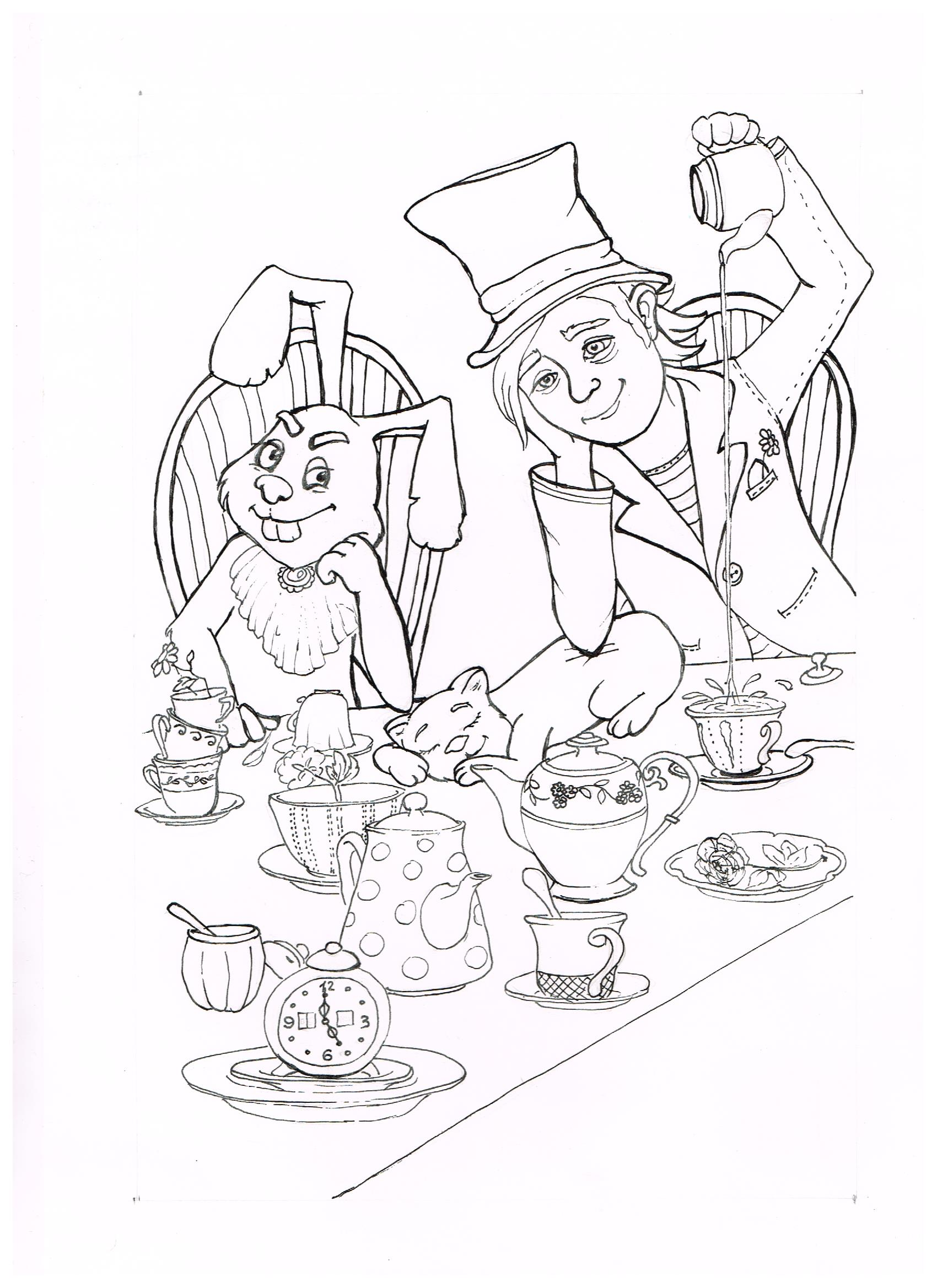 1700x2338 The March Hare And The Hatter Were Having Tea