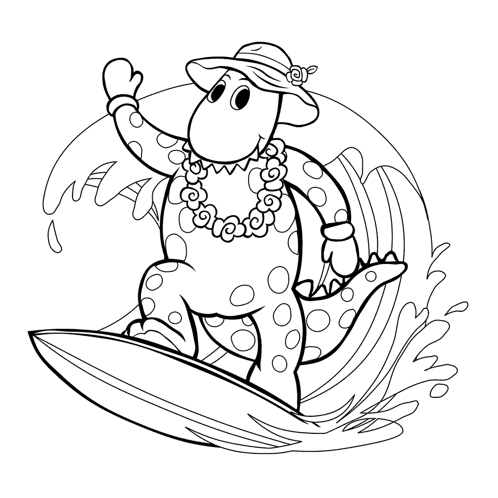 1024x1024 Wiggles Coloring Pages Dorothy Surfing