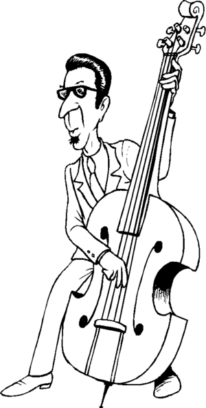 300x592 Bass Player In Glasses Coloring Page