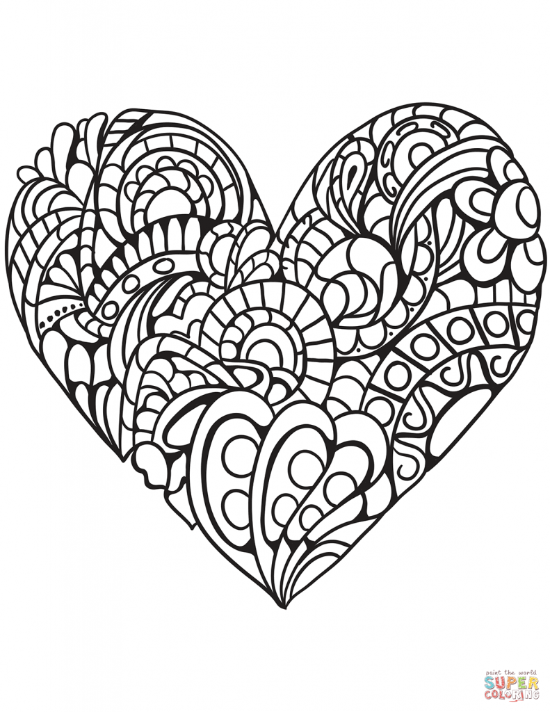 791x1024 Double Heart Coloring Pages