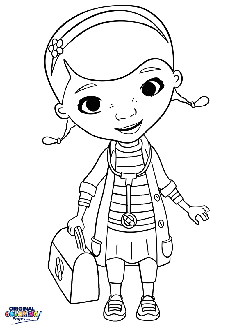 815x1138 Doc Mcstuffins Stethoscope And Doctor Bag Coloring Page Coloring