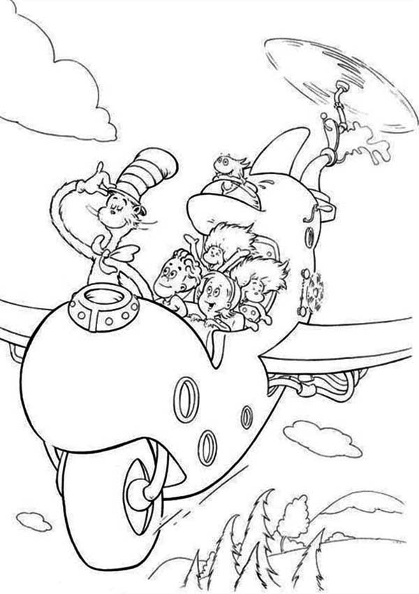 600x850 Dr Seuss The Cat In The Hat Flying With Wierd Airplane Coloring