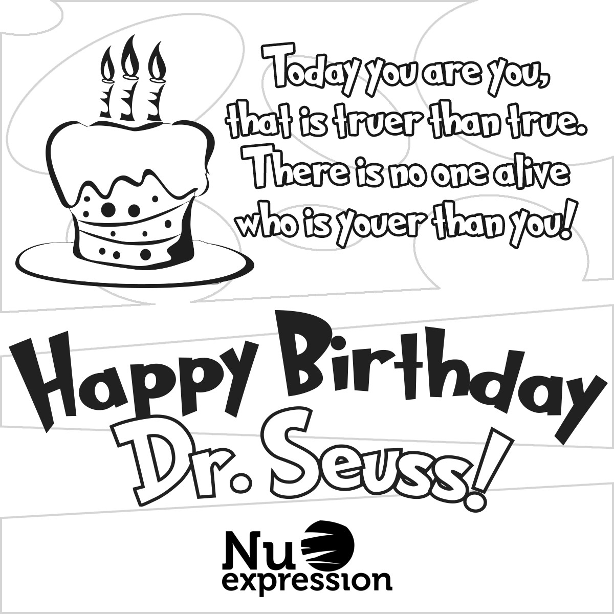 1200x1200 Happy Birthday Dr Seuss Coloring Pages Suess Graphic Bw