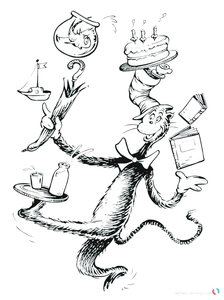 766x1024 Coloring Pages Dr Seuss Coloring Pages Coloring Page Hat Best