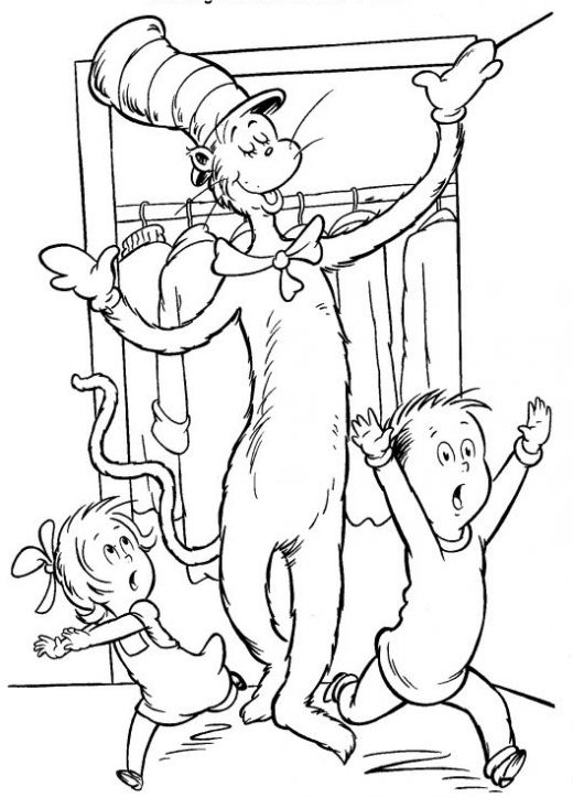520x724 Cat In The Hat Coloring Page Dr Seuss The Cat In The Hat Coloring
