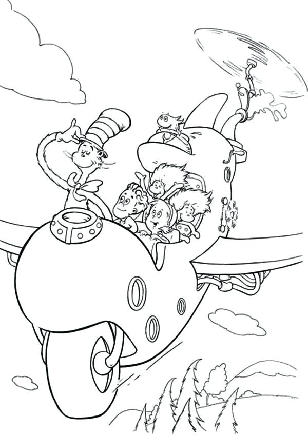 600x850 Dr Suess Coloring Page The Cat In The Hat Flying With Airplane