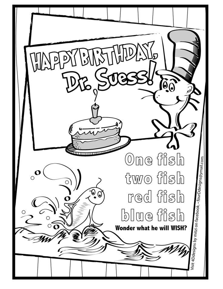 736x952 Happy Birthday Dr Seuss Coloring Pages Suess Graphic Bw