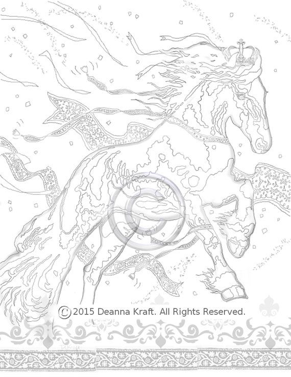 570x737 Royalty, Friesian, Charging Horse, Coloring Page, Horse, Horses